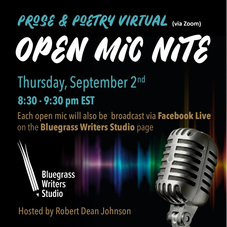 Prose and Poetry Virtual Open Mic Nite flyer